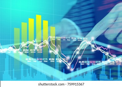 Businessman on digital stock market financial positive indicator background. Double exposure of growth graph futuristic chart currency. investor wall street technology. economic money exchange concept