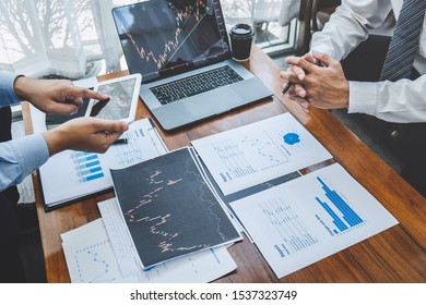 Businessman on meeting conversation and collaboration discussing of partner cooperation to planning in investment trading marketing project to investor of deal on a stock exchange to business profit.