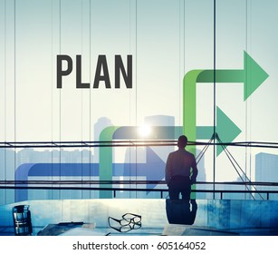 Businessman on the Meeting Room with Arrow Graphic