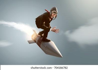Homme d'affaires sur une fusée