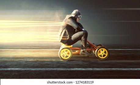 Businessman on a speeding pedal car