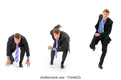 Businessman on starting line isolated over white background