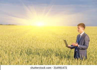 Businessman on a wheat field using a laptop