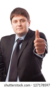 Businessman on a white background shows different signs with his hands