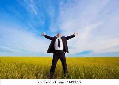 businessman on yellow field under blue skies