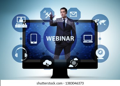 Businessman in online webinar concept
