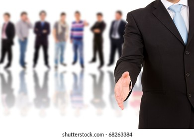 A businessman with an open hand ready to seal on business background