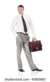 Businessman over white background