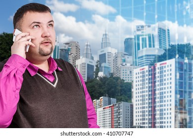 Businessman with overweight speak on the phone