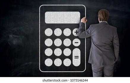 Businessman paints calculator icon on blackboard concept.