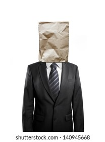businessman with paper bag on head isolated on white