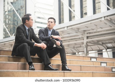 Businessman partner consulting and discussing at outdoor.