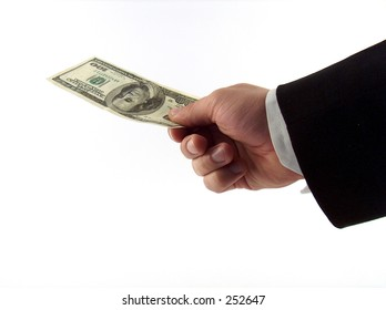 businessman paying with a hundred dollars