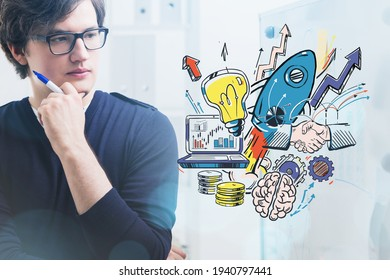 Businessman with pen, pensive look, rocket start up drawing, double exposure with office interior. Concept of new project and launch of product
