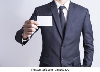 Businessman Pick Business Card: Isolated White Background
