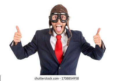 Businessman with pilot goggles isolated in white