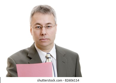 Businessman with pink slip