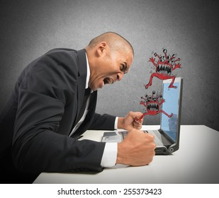 Businessman pissed because of his computer crashed