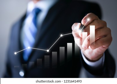 Businessman plan the growth. Investment with financial chart, Growth and successful concept.