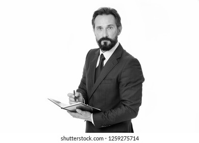 Businessman planning schedule hold notepad. Time management and organizing skill. Man bearded manager concentrated face listening you and noticing. Successful businessman planning. Well organized.