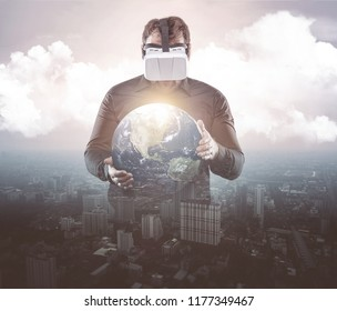 Businessman playing with virtual reality glasses double exposure