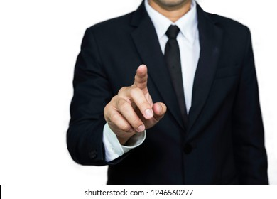 Businessman point by forefinger on something. copy-space