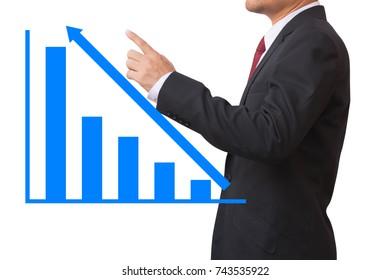 Businessman point exponential graph