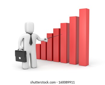 Businessman with pointer and business graph
