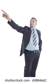 Businessman is pointing up