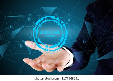 Businessman pointing at blockchain concept.Blockchain technology concept with line connected.