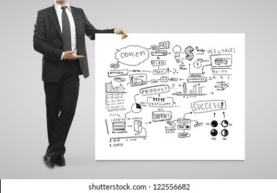 businessman pointing at  business concept