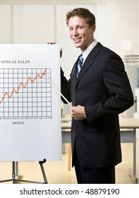 Businessman pointing to chart