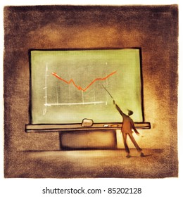 businessman pointing at the chart on business presentation (stylized loose painting)
