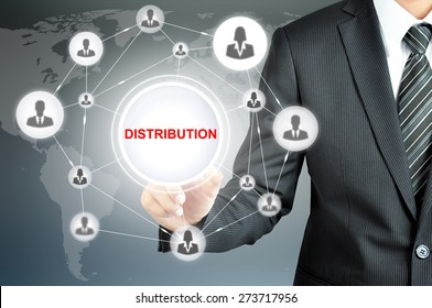Businessman pointing to DISTRIBUTION sign with businesspeople icon network on virtual screen