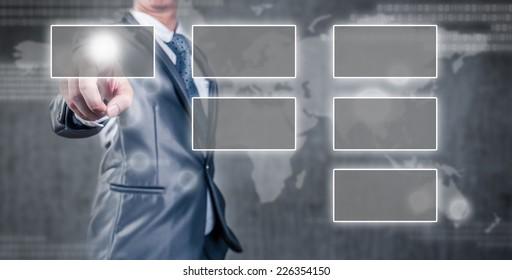 businessman pointing an empty organization chart