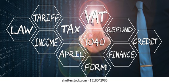 businessman pointing finger on virtual screen and touching word vat - tax day concept