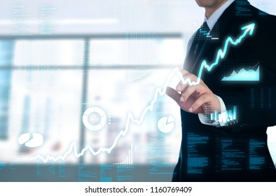 businessman pointing glow uptrend  business screen