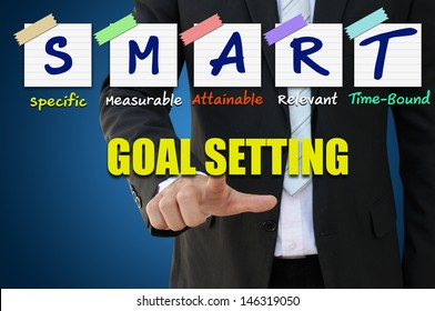 Businessman pointing goal setting for smart concept