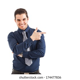 Businessman pointing his finger to the copyspace