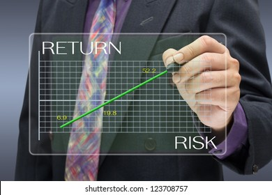 Businessman pointing on investment graph