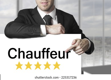 businessman pointing on sign chauffeur golden rating stars