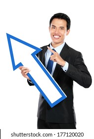 Businessman pointing up on white background