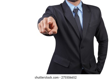 businessman pointing something isolated on white background with clipping path