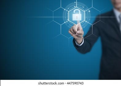 Businessman pointing or touching the key icon symbol, Unlock business.