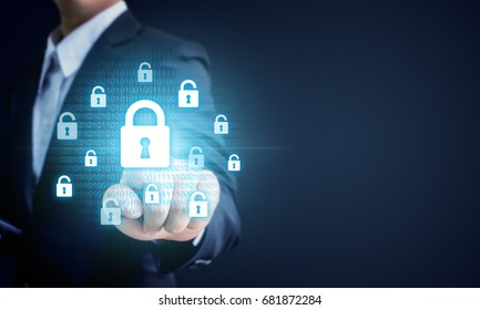 Businessman pointing virtual lock key, Data protection business cyber security technology concept