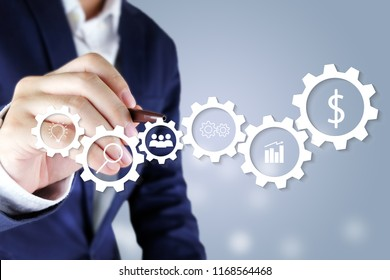 Businessman pointing virtual screen.Business icon concept