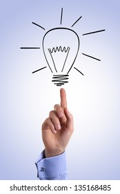 Businessman points finger at the light bulb