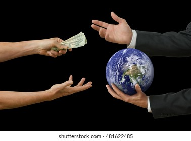Businessman politician selling world for profit representing bribery, crooked politics, political favors, environmental destruction for money, corrupt world leaders. Some elements provided by Nasa.
