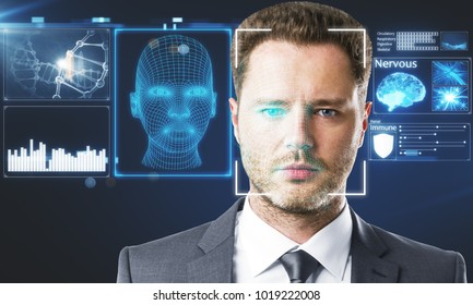 Businessman portrait with digital interface. Face ID concept. Double exposure