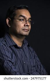 businessman portrait  on black background